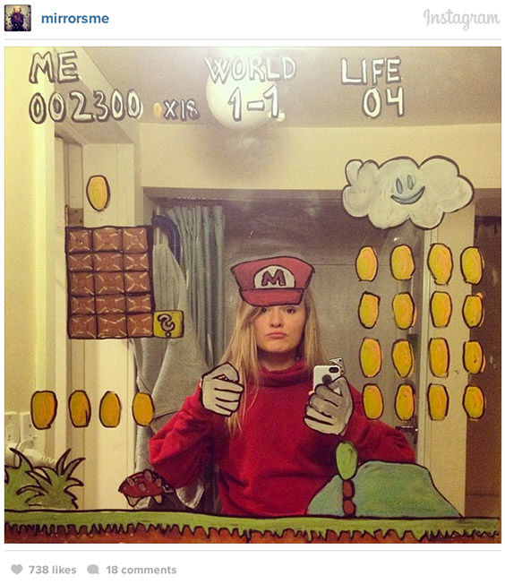 Meldadl said: I guess I feel as though I invent a little stage in the mirror. ... For me, it was the only natural thing to do: to draw on my bathroom mirror. Why not, right? <span class=meta>Helene Meldahl / @mirrosme / Instagram</span>