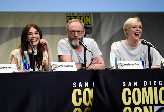 "<div class=""meta image-caption""><div class=""origin-logo origin-image none""><span>none</span></div><span class=""caption-text"">Carice van Houten, from left, Liam Cunningham and Gwendoline Christie attend the ""Game of Thrones"" panel on day 2 of San Diego Comic-Con International on Friday, July 10, 2015.</span></div>"