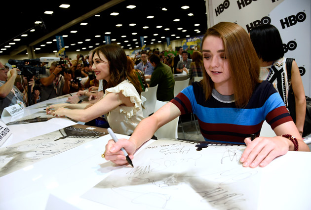 "<div class=""meta image-caption""><div class=""origin-logo origin-image none""><span>none</span></div><span class=""caption-text"">Maisie Williams attends the ""Game of Thrones"" autograph signing on day 2 of Comic-Con International on Friday, July 10, 2015, in San Diego, Calif.  (Photo by Chris Pizzello/Invision/AP)</span></div>"