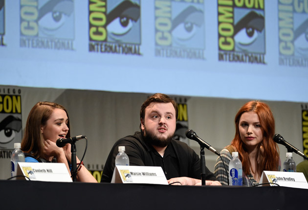 "<div class=""meta image-caption""><div class=""origin-logo origin-image none""><span>none</span></div><span class=""caption-text"">Maisie Williams, from left, John Bradley, and Sophie Turner attend the ""Game of Thrones"" panel on day 2 of Comic-Con International on Friday, July 10, 2015, in San Diego, Calif.  (Photo by Chris Pizzello/Invision/AP)</span></div>"