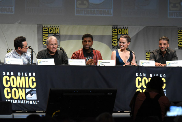 "<div class=""meta image-caption""><div class=""origin-logo origin-image none""><span>none</span></div><span class=""caption-text"">J.J. Abrams, from left, Lawrence Kasdan, John Boyega, Daisy Ridley, and Oscar Isaac attend Lucasfilm's ""Star Wars: The Force Awakens"" panel on day 2 of Comic-Con International. (Photo by Richard Shotwell/Invision/AP)</span></div>"