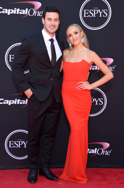 <div class='meta'><div class='origin-logo' data-origin='none'></div><span class='caption-text' data-credit='Jordan Strauss/Invision/AP'>Hockey player Matt Lombardi, left, and Nastia Liukin arrive at the ESPYS at the Microsoft Theater on Wednesday, July 12, 2017, in Los Angeles.</span></div>