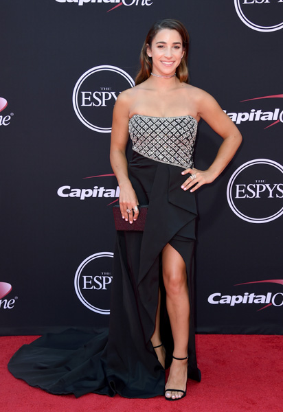 <div class='meta'><div class='origin-logo' data-origin='none'></div><span class='caption-text' data-credit='Jordan Strauss/Invision/AP'>Gymnast Aly Raisman arrives at the ESPYS at the Microsoft Theater on Wednesday, July 12, 2017, in Los Angeles.</span></div>