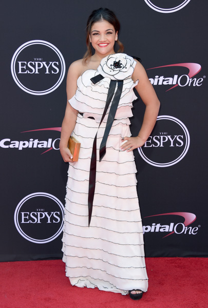 <div class='meta'><div class='origin-logo' data-origin='none'></div><span class='caption-text' data-credit='Jordan Strauss/Invision/AP'>Gymnast Laurie Hernandez arrives at the ESPYS at the Microsoft Theater on Wednesday, July 12, 2017, in Los Angeles.</span></div>