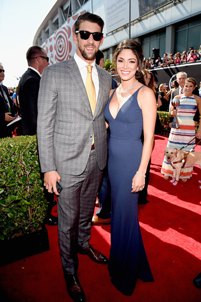 <div class='meta'><div class='origin-logo' data-origin='none'></div><span class='caption-text' data-credit='Kevin Mazur/Getty Images'>Olympic swimmer Michael Phelps and model Nicole Johnson attend The 2017 ESPYS at Microsoft Theater on July 12, 2017 in Los Angeles, California.</span></div>