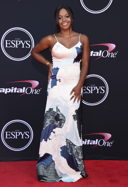 <div class='meta'><div class='origin-logo' data-origin='none'></div><span class='caption-text' data-credit='Jordan Strauss/Invision/AP'>Gymnast Gabby Douglas arrives at the ESPYS at the Microsoft Theater on Wednesday, July 12, 2017, in Los Angeles.</span></div>
