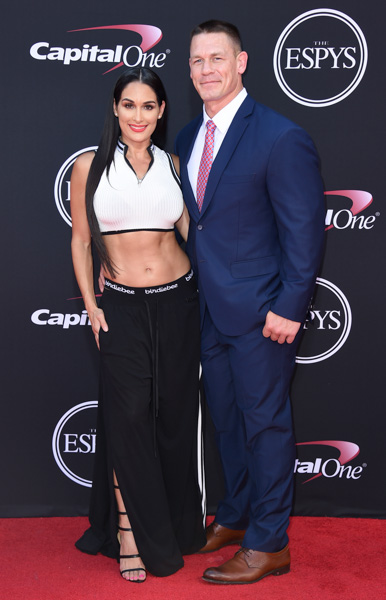 <div class='meta'><div class='origin-logo' data-origin='none'></div><span class='caption-text' data-credit='Jordan Strauss/Invision/AP'>John Cena, right, and Nikki Bella arrive at the ESPYS at the Microsoft Theater on Wednesday, July 12, 2017, in Los Angeles.</span></div>