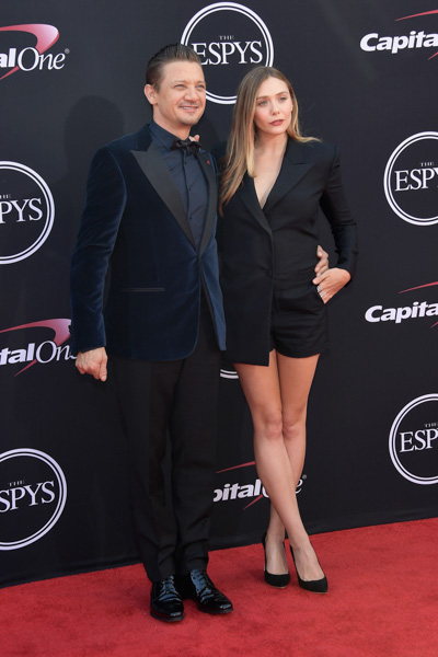 <div class='meta'><div class='origin-logo' data-origin='none'></div><span class='caption-text' data-credit='Matt Winkelmeyer/Getty Images'>LOS ANGELES, CA - JULY 12:  Actors Jeremy Renner and Elizabeth Olsen attend The 2017 ESPYS at Microsoft Theater on July 12, 2017 in Los Angeles, California.</span></div>