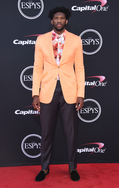 <div class='meta'><div class='origin-logo' data-origin='none'></div><span class='caption-text' data-credit='Jordan Strauss/Invision/AP'>NBA player, Joel Embiid, of the Philadelphia 76ers arrives at the ESPYS at the Microsoft Theater on Wednesday, July 12, 2017, in Los Angeles.</span></div>