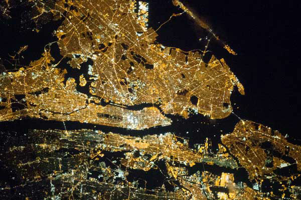 New York City (Manhattan, middle, is horizontal.)