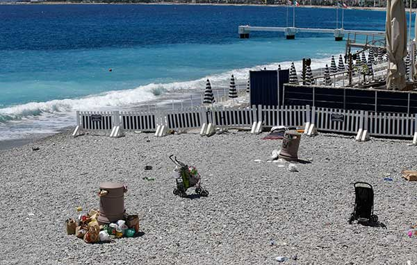 <div class='meta'><div class='origin-logo' data-origin='none'></div><span class='caption-text' data-credit='Luca Bruno/AP Photo'>Discarded items are left on the beach, not far from the site of the truck attack in the French resort city of Nice, southern France, Friday, July 15, 2016.</span></div>