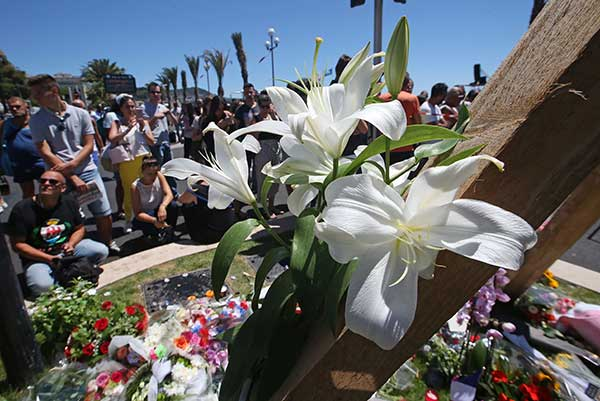 <div class='meta'><div class='origin-logo' data-origin='none'></div><span class='caption-text' data-credit='Luca Bruno/AP Photo'>Floral tributes are laid out near the site of the truck attack in the French resort city of Nice, southern France, Friday, July 15, 2016.</span></div>