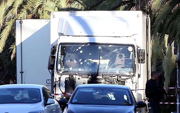 <div class='meta'><div class='origin-logo' data-origin='none'></div><span class='caption-text' data-credit='Luca Bruno/AP Photo'>The truck which slammed into revelers late Thursday, July 14, is seen near the site of an attack in the French resort city of Nice, southern France, Friday, July 15, 2016.</span></div>
