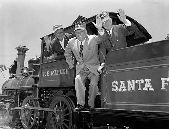 "<div class=""meta image-caption""><div class=""origin-logo origin-image none""><span>none</span></div><span class=""caption-text"">Gov. Goodwin J. Knight, Walt Disney, Fred G. Gurley, President of Santa Fe Railroad, right, take a ride around Disneyland in Anaheim, Calif. July 17, 1955.  (Photo/AP)</span></div>"