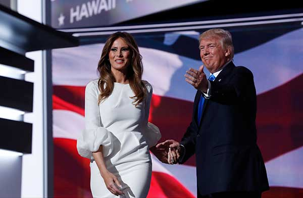 <div class='meta'><div class='origin-logo' data-origin='none'></div><span class='caption-text' data-credit='Carolyn Kaster/AP Photo'>Melania Trump, wife of Republican Presidential Candidate Donald Trump walks to the stage as Donald Trump introduces her during the opening day of the Republican National Convention</span></div>
