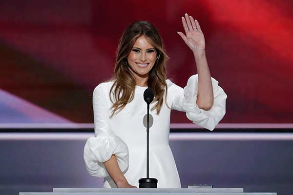 <div class='meta'><div class='origin-logo' data-origin='none'></div><span class='caption-text' data-credit='J. Scott Applewhite/AP Photo'>Melania Trump, wife of Republican Presidential Candidate Donald Trump waves as she speaks during the opening day of the Republican National Convention in Cleveland on Monday.</span></div>