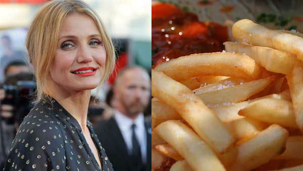 "<div class=""meta image-caption""><div class=""origin-logo origin-image ""><span></span></div><span class=""caption-text"">Cameron Diaz is not shy about her love of French fries. She can't get enough, she told People. (Greg Hirson Flickr, AP)</span></div>"