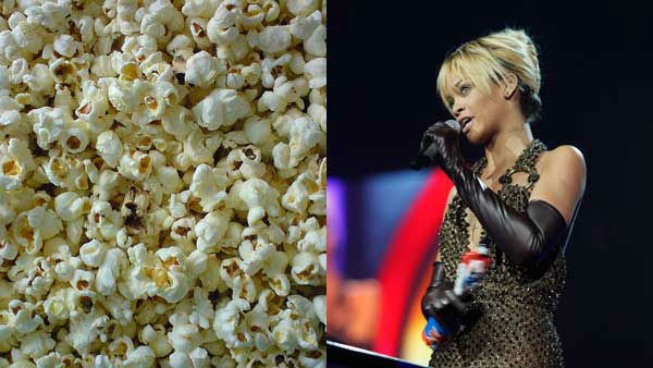 "<div class=""meta image-caption""><div class=""origin-logo origin-image ""><span></span></div><span class=""caption-text"">Rhianna told Women's Fitness that butter microwave popcorn is her favorite food, though that was before she famously spilled some at the VMAs. (Piotr Zaborowski Flickr, AP)</span></div>"