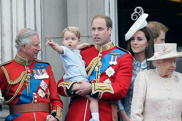 "<div class=""meta image-caption""><div class=""origin-logo origin-image none""><span>none</span></div><span class=""caption-text"">Three generations of princes -- George, William and Charles -- appeared on the balcony of Buckingham Palace during Queen Elizabeth II's birthday parade in June 2015. (AP Photo/Tim Ireland)</span></div>"
