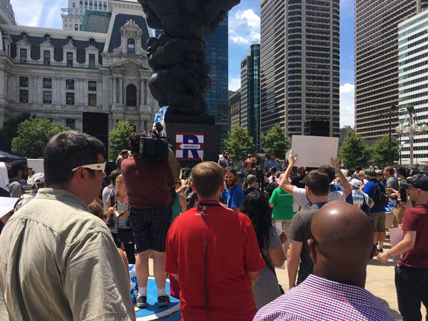 <div class='meta'><div class='origin-logo' data-origin='none'></div><span class='caption-text' data-credit=''>'Bernie or Bust' supporters rally at City Hall in Center City Philadelphia on Tuesday, July 26, 2016.</span></div>