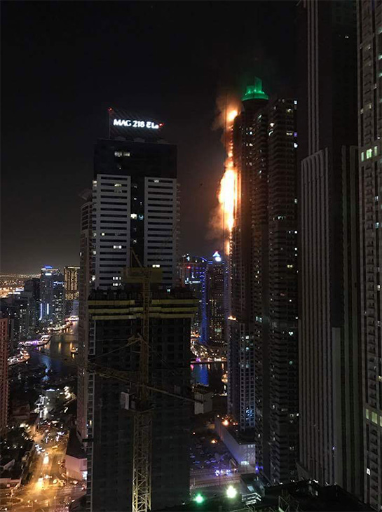 "<div class=""meta image-caption""><div class=""origin-logo origin-image none""><span>none</span></div><span class=""caption-text"">The 82-story Marina Torch building in Dubai has caught fire.  (Ilsam Park/Facebook)</span></div>"