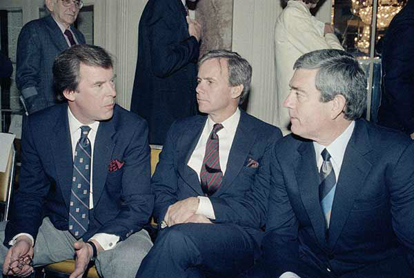 <div class='meta'><div class='origin-logo' data-origin='none'></div><span class='caption-text' data-credit='AP Photo/MARTY LEDERHANDLER'>Network news anchormen, from left, Peter Jennings, ABC, Tom Brokaw, NBC, and Dan Rather, CBS, chat at a luncheon in 1986.</span></div>