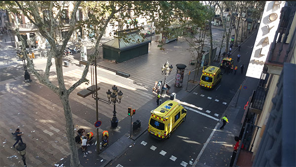 <div class='meta'><div class='origin-logo' data-origin='none'></div><span class='caption-text' data-credit='Claudia Lerma/Twitter'>Twitter user Claudia Lerma shared this photo from the scene where a van plowed into a crowd, injuring pedestrians in Barcelona.</span></div>