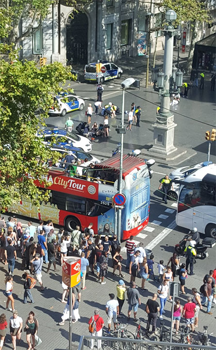 <div class='meta'><div class='origin-logo' data-origin='none'></div><span class='caption-text' data-credit='Vil_Music/Twitter'>A Twitter user shared this photo from the scene where a van plowed into a crowd, injuring pedestrians in Barcelona.</span></div>
