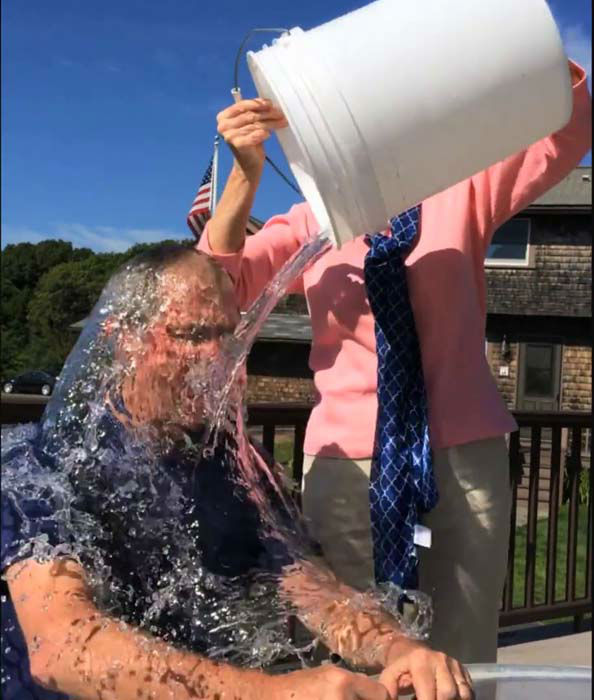 President George W. Bush completed the ALS Ice Bucket Challenge with some help from Laura Bush and then challenged President Bill Clinton <span class=meta>Facebook / George W. Bush</span>