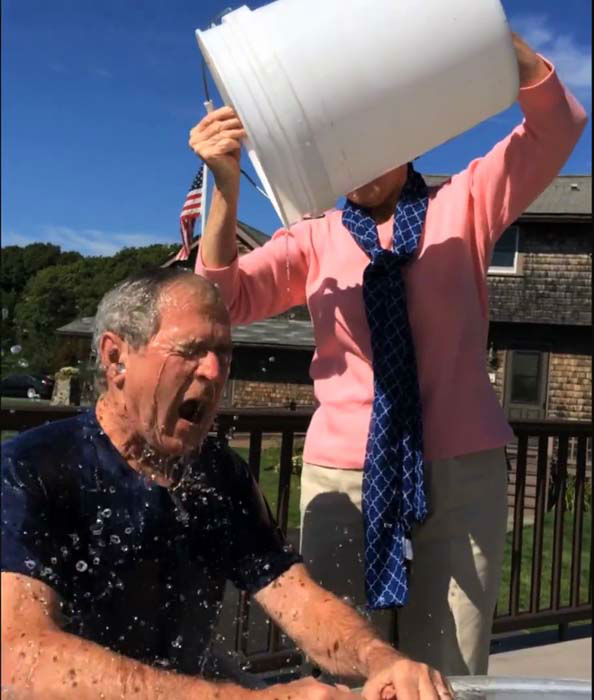 President George W. Bush completed the ALS Ice Bucket Challenge with some help from Laura Bush and then challenged President Bill Clinton <span class=meta>(Facebook &#47; George W. Bush)</span>