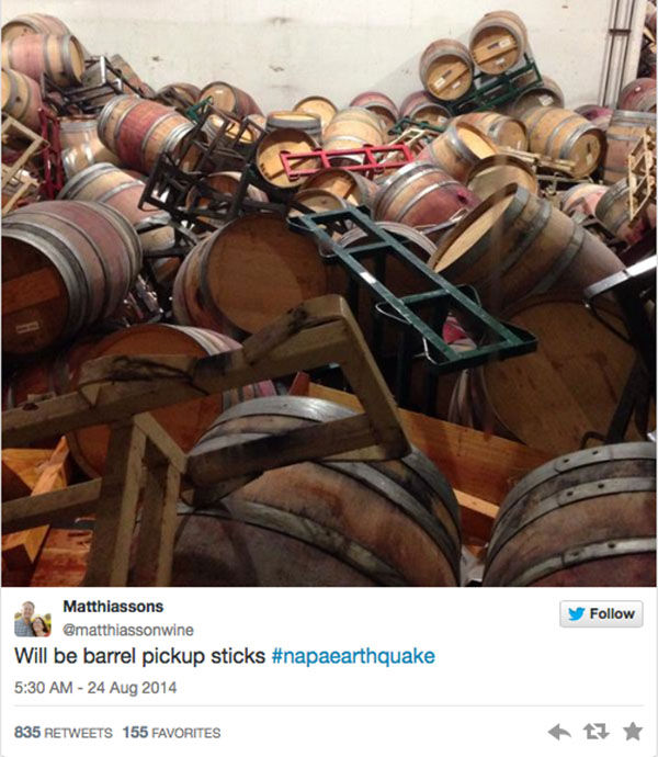 "<div class=""meta ""><span class=""caption-text "">Winemaker Steve Mathiason tweeted that all of his red barrels were on the floor. (matthiassonwine / Twitter)</span></div>"