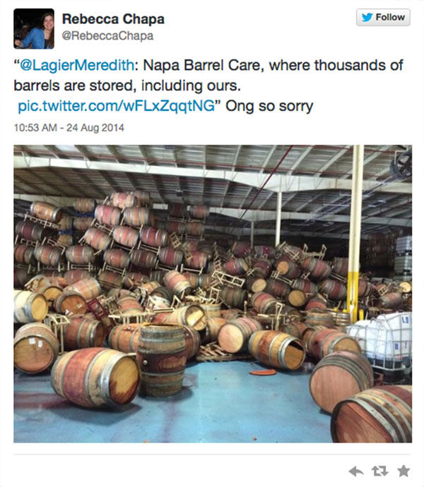 "<div class=""meta ""><span class=""caption-text "">Many barrels of wine collapsed at Napa Barrel Care. (RebeccaChapa / Twitter)</span></div>"