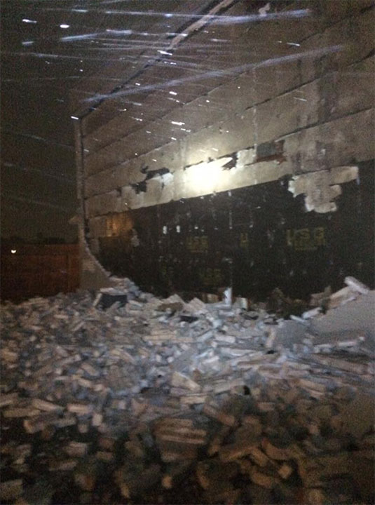 <div class='meta'><div class='origin-logo' data-origin='none'></div><span class='caption-text' data-credit='David Higginbotham‎/Facebook'>A Facebook user shared this photo of the Kings Square Apartments of a brick wall battered by the storm in Corpus Christi, Texas.</span></div>
