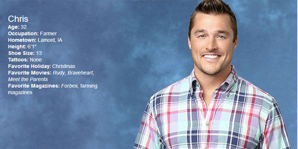 "<div class=""meta image-caption""><div class=""origin-logo origin-image ""><span></span></div><span class=""caption-text"">Learn more about Chris' time on the Bachelorette and weigh in below: How do you think he'll do? (ABC)</span></div>"