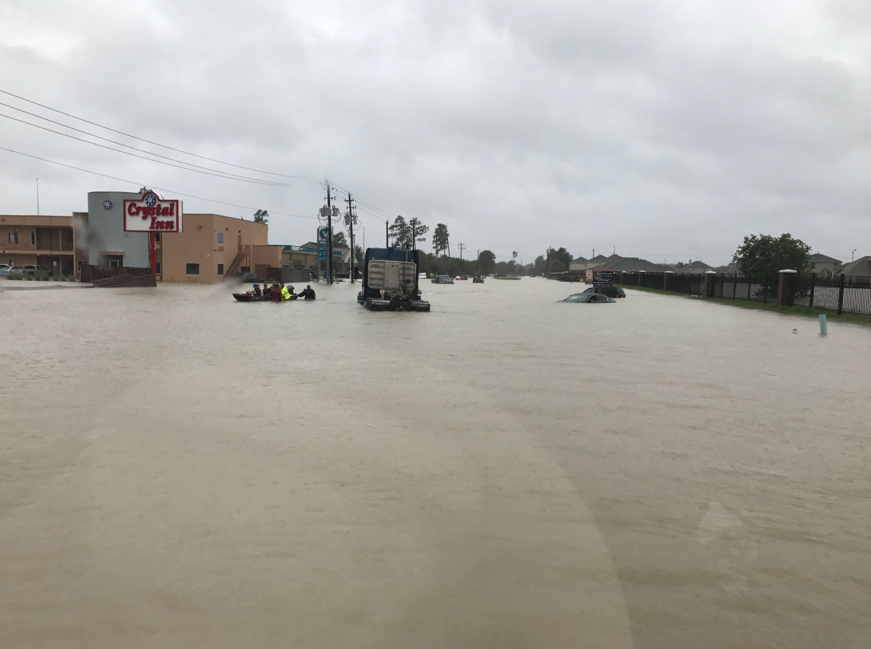 "<div class=""meta image-caption""><div class=""origin-logo origin-image none""><span>none</span></div><span class=""caption-text"">The Harris County Sheriff posted this photo on Tuesday while helping out with rescues on Tidwell Rd in Houston. (SheriffEd_HCSO/Twitter)</span></div>"