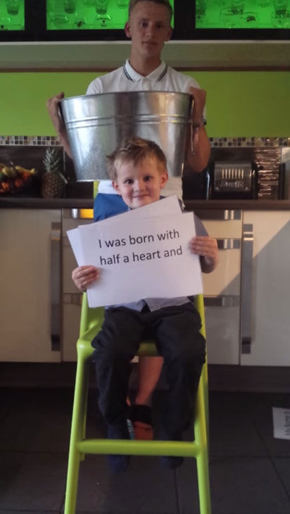 "<div class=""meta ""><span class=""caption-text "">Five-year-old Albert is using his own version of the Ice Bucket Challenge to encourage people to become organ donors. (TheKeepthebeat/YouTube)</span></div>"