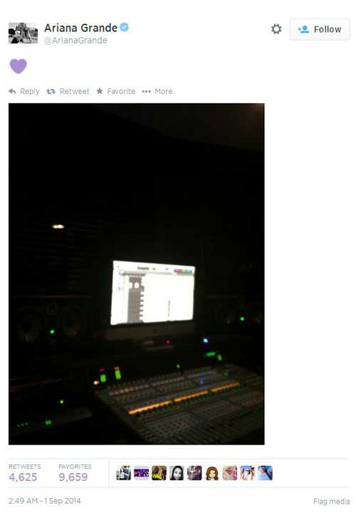 Though Ariana Grande's reps have also called the photos fake, the singer herself has ignored the rumors, instead posting a picture from the recording studio. <span class=meta>Twitter, Ariana Grande</span>
