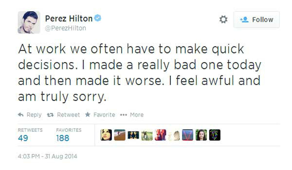 Meanwhile, celebrity blogger Perez Hilton apologized for posting the photos on his website, taking them down quickly. <span class=meta>Twitter, Perez Hilton</span>