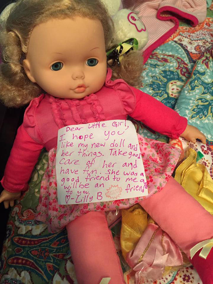 "<div class=""meta image-caption""><div class=""origin-logo origin-image none""><span>none</span></div><span class=""caption-text"">A young girl in Mississippi overheard her parents talking about a trip to Houston, so she offered to donate her doll with a sweet note. Her parents are Hurricane Katrina survivors. (EJ Bice/Facebook)</span></div>"