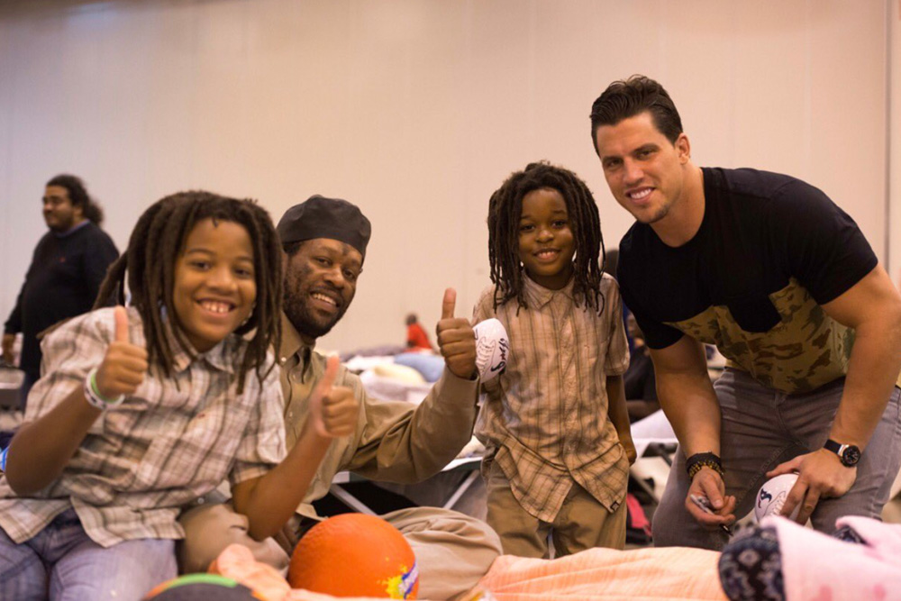 "<div class=""meta image-caption""><div class=""origin-logo origin-image none""><span>none</span></div><span class=""caption-text"">Linebacker Brian Cushing at a Hurricane Harvey shelter at NRG Center. (HoustonTexans/Twitter)</span></div>"