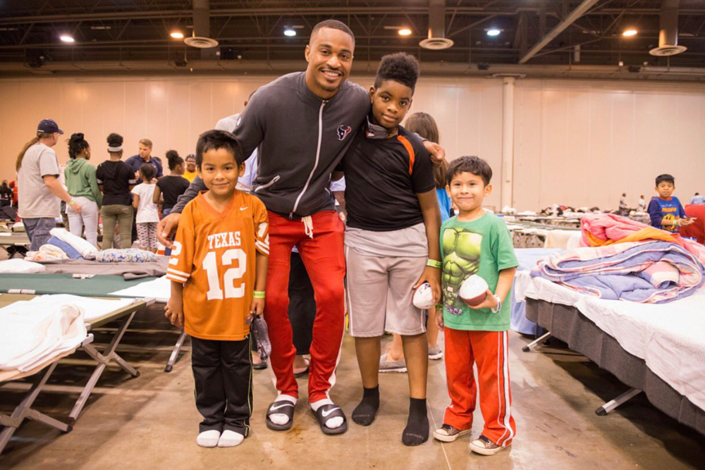 "<div class=""meta image-caption""><div class=""origin-logo origin-image none""><span>none</span></div><span class=""caption-text"">Wide receiver Jaelen Strong at a Hurricane Harvey shelter at NRG Center. (HoustonTexans/Twitter)</span></div>"
