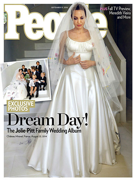 Angelina Jolie showed off the front of her Versace dress on the cover of People. <span class=meta>(People Magazine)</span>