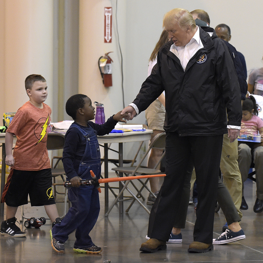 <div class='meta'><div class='origin-logo' data-origin='none'></div><span class='caption-text' data-credit='Susan Walsh/AP Photo'>President Donald Trump meets people impacted by Hurricane Harvey during a visit to the NRG Center in Houston, Saturday, Sept. 2, 2017.</span></div>