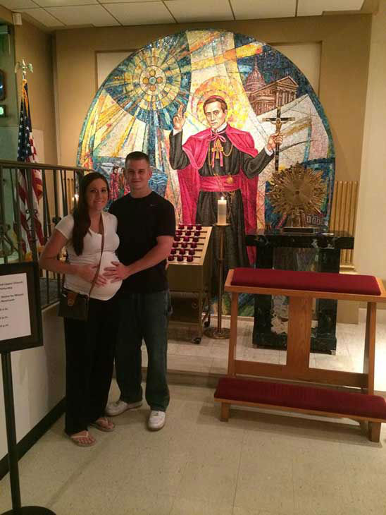 "<div class=""meta image-caption""><div class=""origin-logo origin-image ""><span></span></div><span class=""caption-text"">Jenna and Dan at The National Shrine of St. John Neumann (Creative Content Photo/ Facebook, Prayers for Shane)</span></div>"