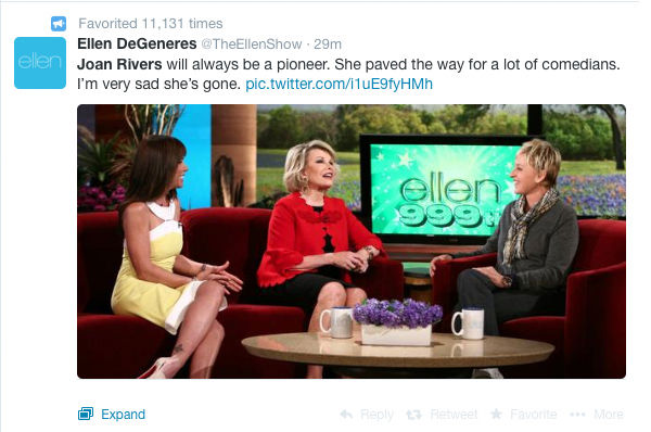 Ellen DeGeneres <span class=meta>Ellen DeGeneres/Twitter</span>