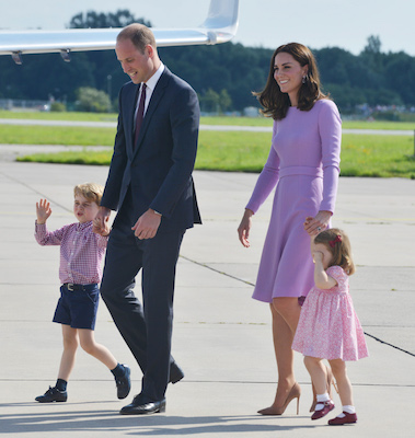 <div class='meta'><div class='origin-logo' data-origin='Creative Content'></div><span class='caption-text' data-credit='Pool/Samir Hussein/WireImage'>Prince George of Cambridge, Prince William, Duke of Cambridge, Catherine, Duchess of Cambridge and Princess Charlotte of Cambridge depart from Hamburg airport on July 21, 2017.</span></div>