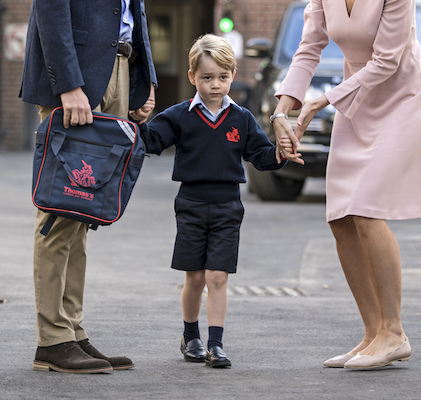 "<div class=""meta image-caption""><div class=""origin-logo origin-image wabc""><span>wabc</span></div><span class=""caption-text"">Prince George arrives for his first day of school at Thomas's school in Battersea and is met by Helen Haslem head of the lower school. (Richard Pohle/Pool Photo via AP)</span></div>"