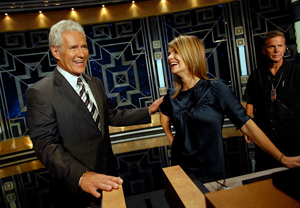 """<div class=""""meta image-caption""""><div class=""""origin-logo origin-image """"><span></span></div><span class=""""caption-text"""">Trebek talking with Kahtryn Erbe prior to a taping of Celebrity Jeopardy! in October 2006. (Paul Hawthorne / AP)</span></div>"""