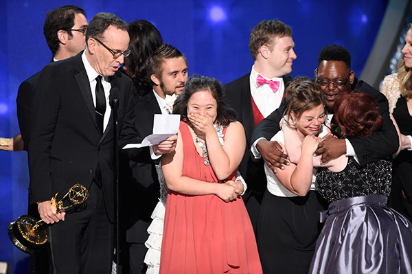"<div class=""meta image-caption""><div class=""origin-logo origin-image none""><span>none</span></div><span class=""caption-text"">The team from ""Born This Way"" accepts the award for outstanding unstructured reality program during night two of the Television Academy's 2016 Creative Arts Emmy Awards. (Phil McCarten/Invision for the Television Academy/AP Images)</span></div>"