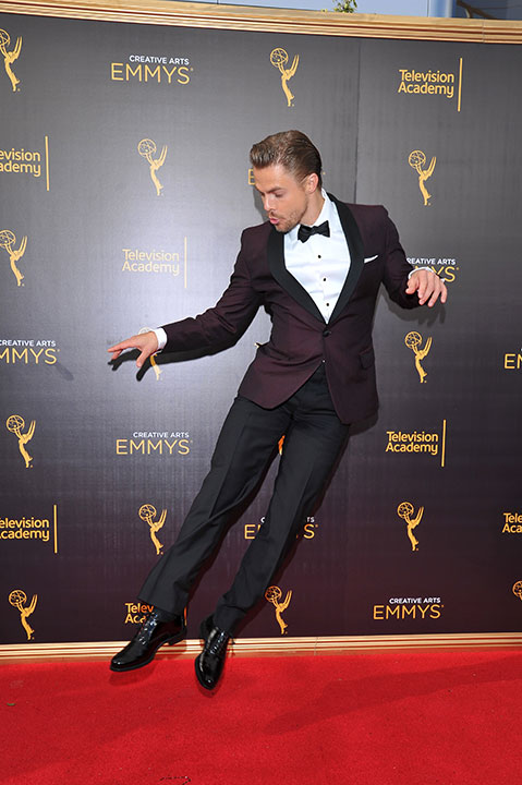 "<div class=""meta image-caption""><div class=""origin-logo origin-image none""><span>none</span></div><span class=""caption-text"">Derek Hough arrives at night two of the Television Academy's 2016 Creative Arts Emmy Awards at the Microsoft Theater on Sunday, Sept. 11, 2016 in Los Angeles. (Vince Bucci/Invision for the Television Academy/AP Images)</span></div>"
